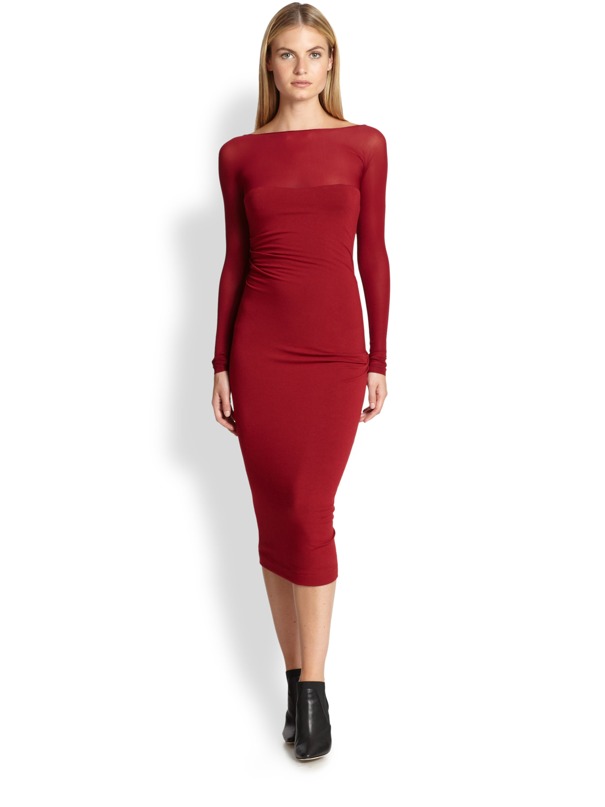 Lyst - Donna karan Ruched Jersey Bodycon Dress in Red