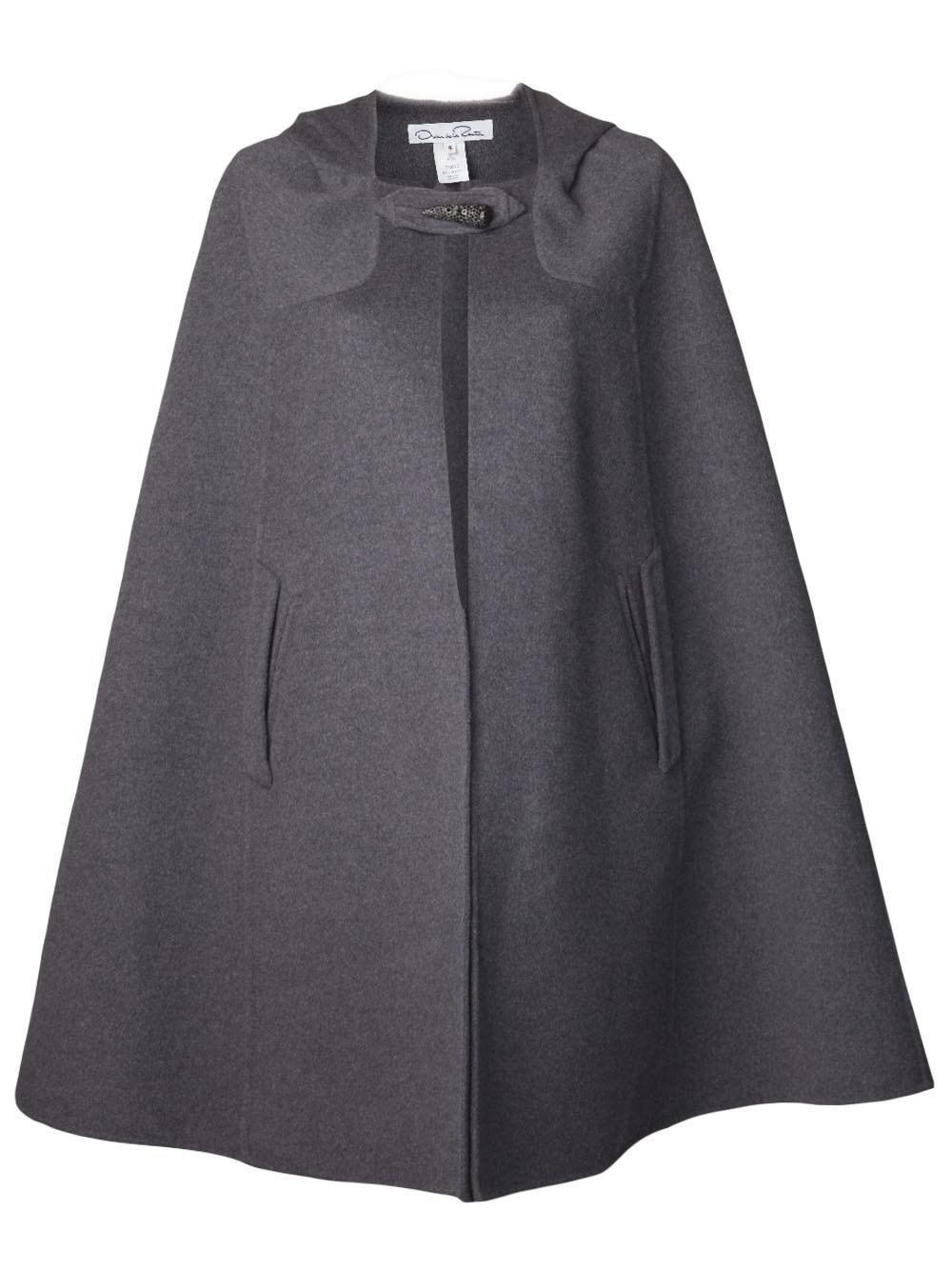 Lyst Oscar De La Renta Long Cape Coat In Gray