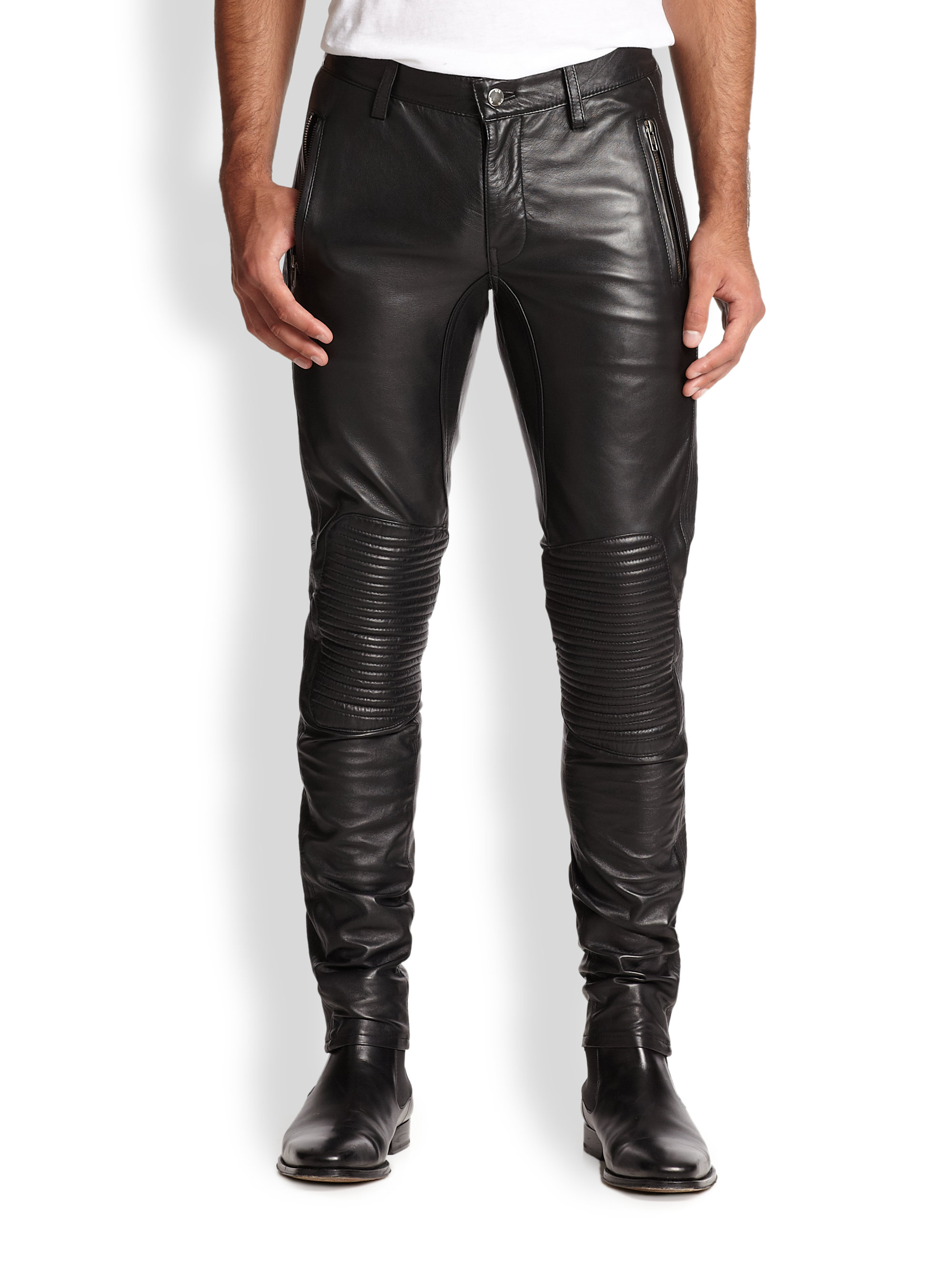 Blk Dnm Slim-Fit Leather Biker Pants in Black for Men