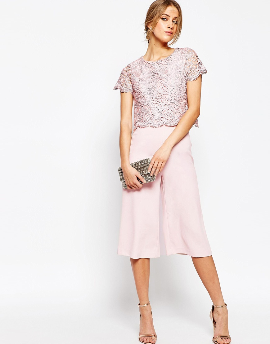 b84df5b61b9 Warehouse Lace Culotte Jumpsuit - Light Pink in Pink - Lyst