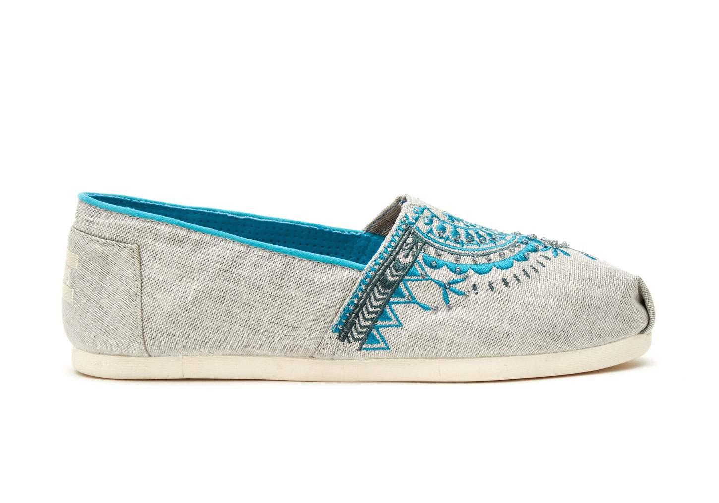 406de6876dc TOMS Light Grey Canvas Beaded Embroidery Women s Classics in Blue - Lyst