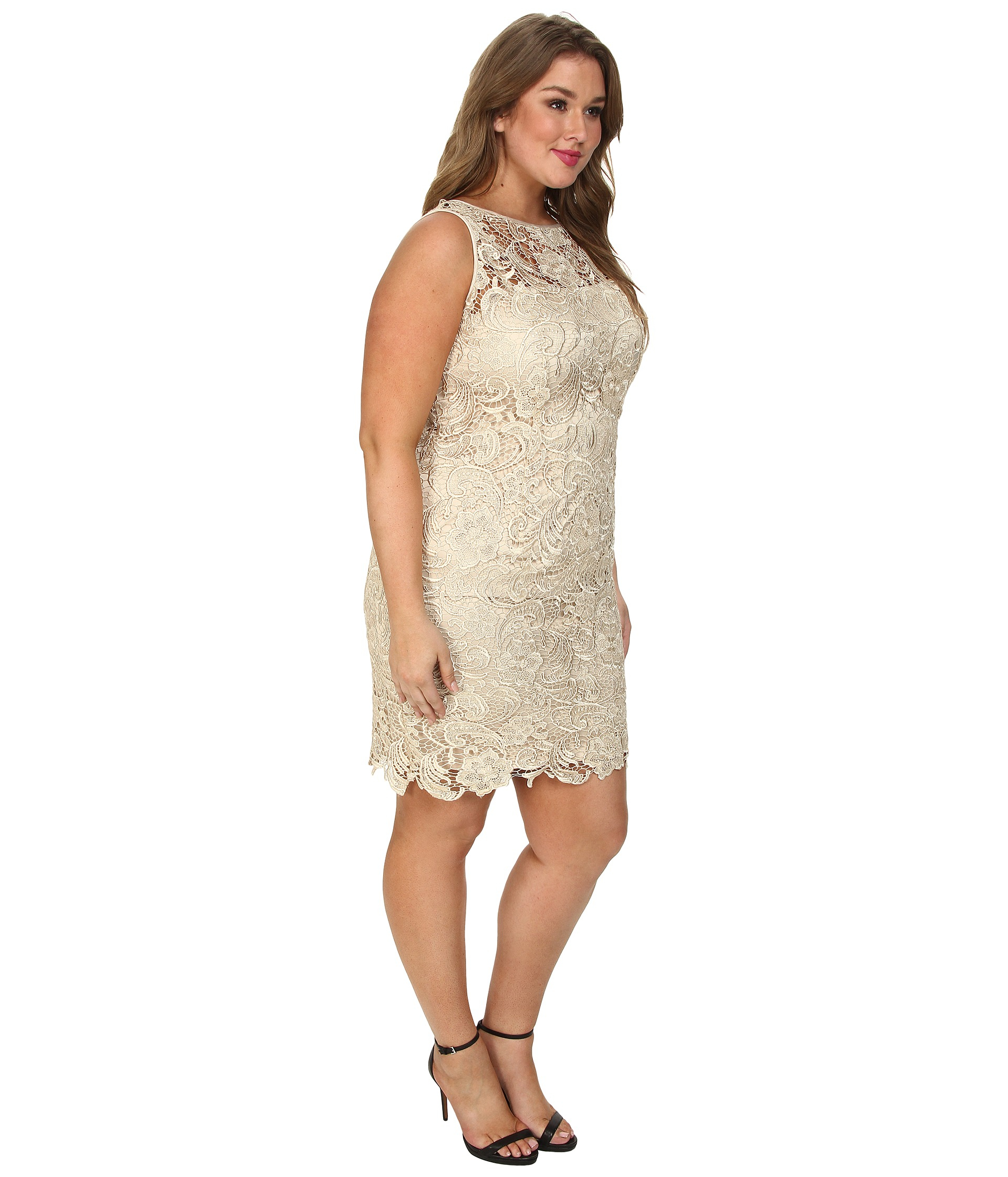 adrianna papell plus size illusion neck lace dress in metallic | lyst