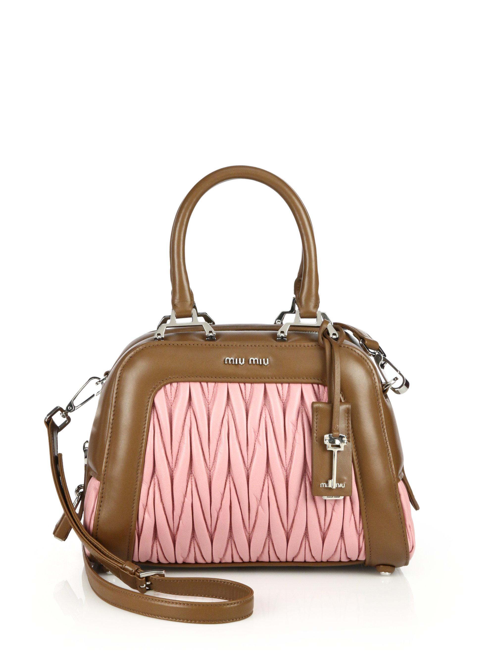 lyst miu miu matelasse bicolor satchel in pink. Black Bedroom Furniture Sets. Home Design Ideas