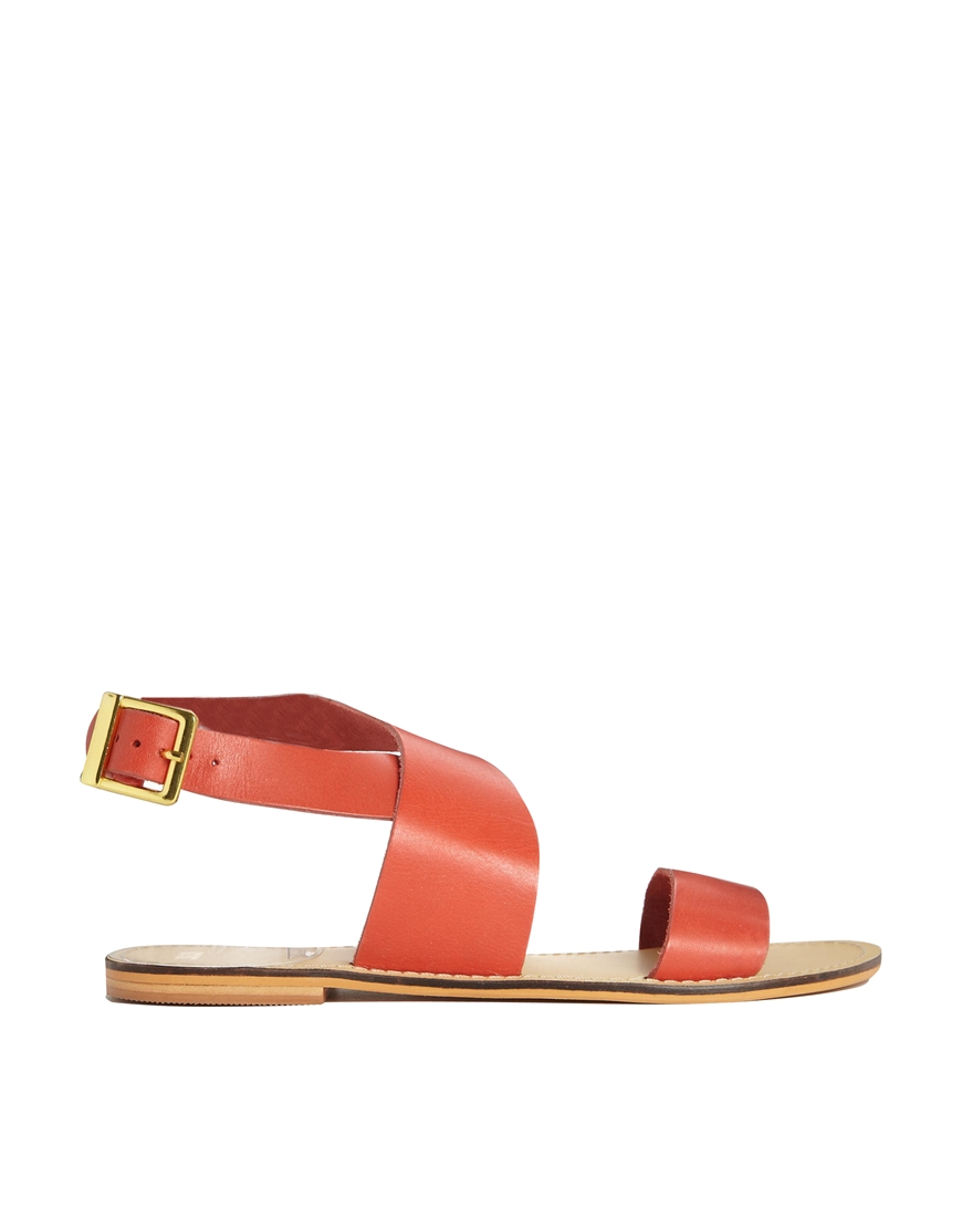 94ca64f2399c6 Lyst - ASOS Foster Leather Flat Sandals in Red