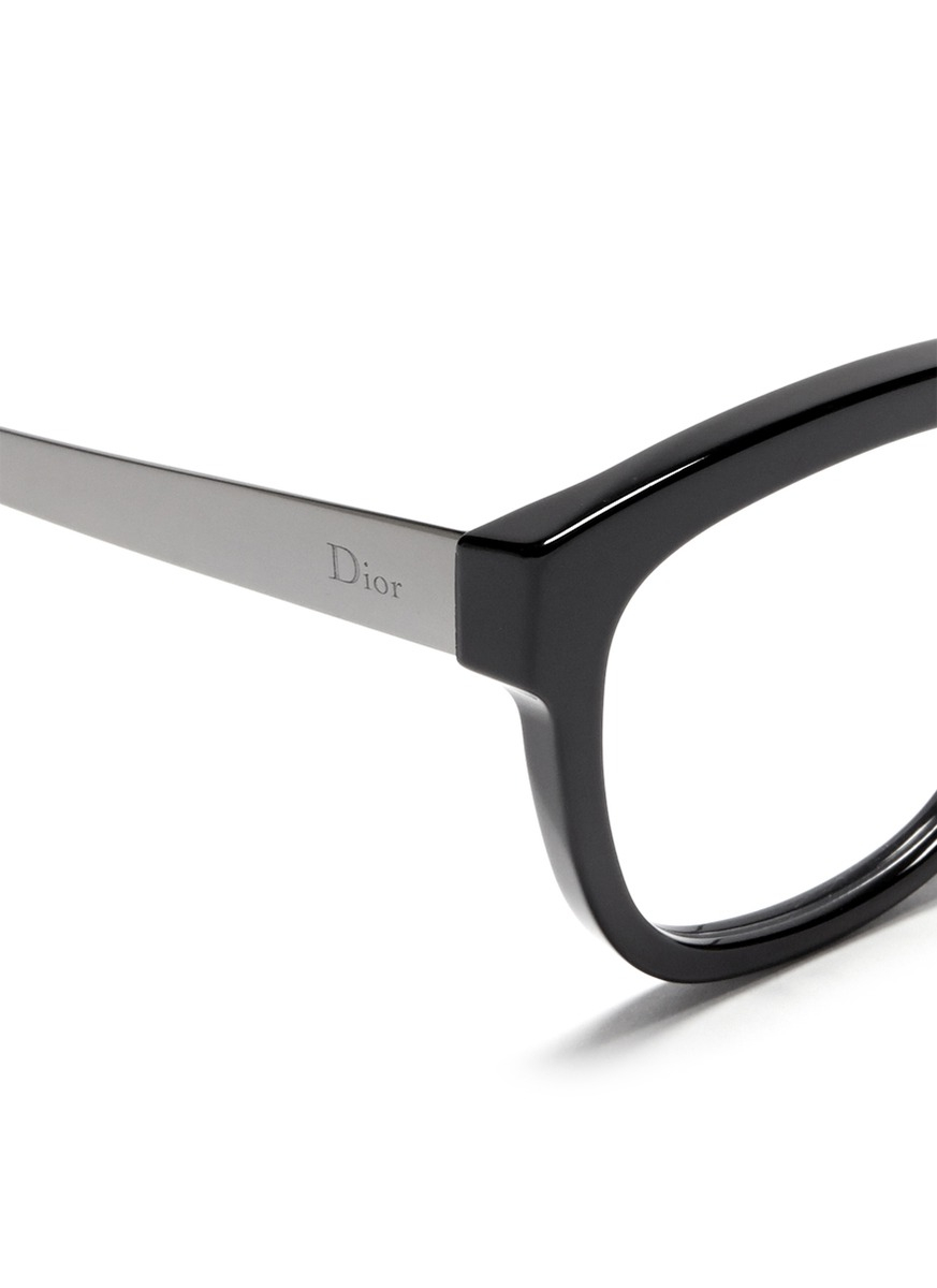 Dior Metal Eyeglass Frames : Dior Metal Temple Acetate Optical Glasses in Black Lyst