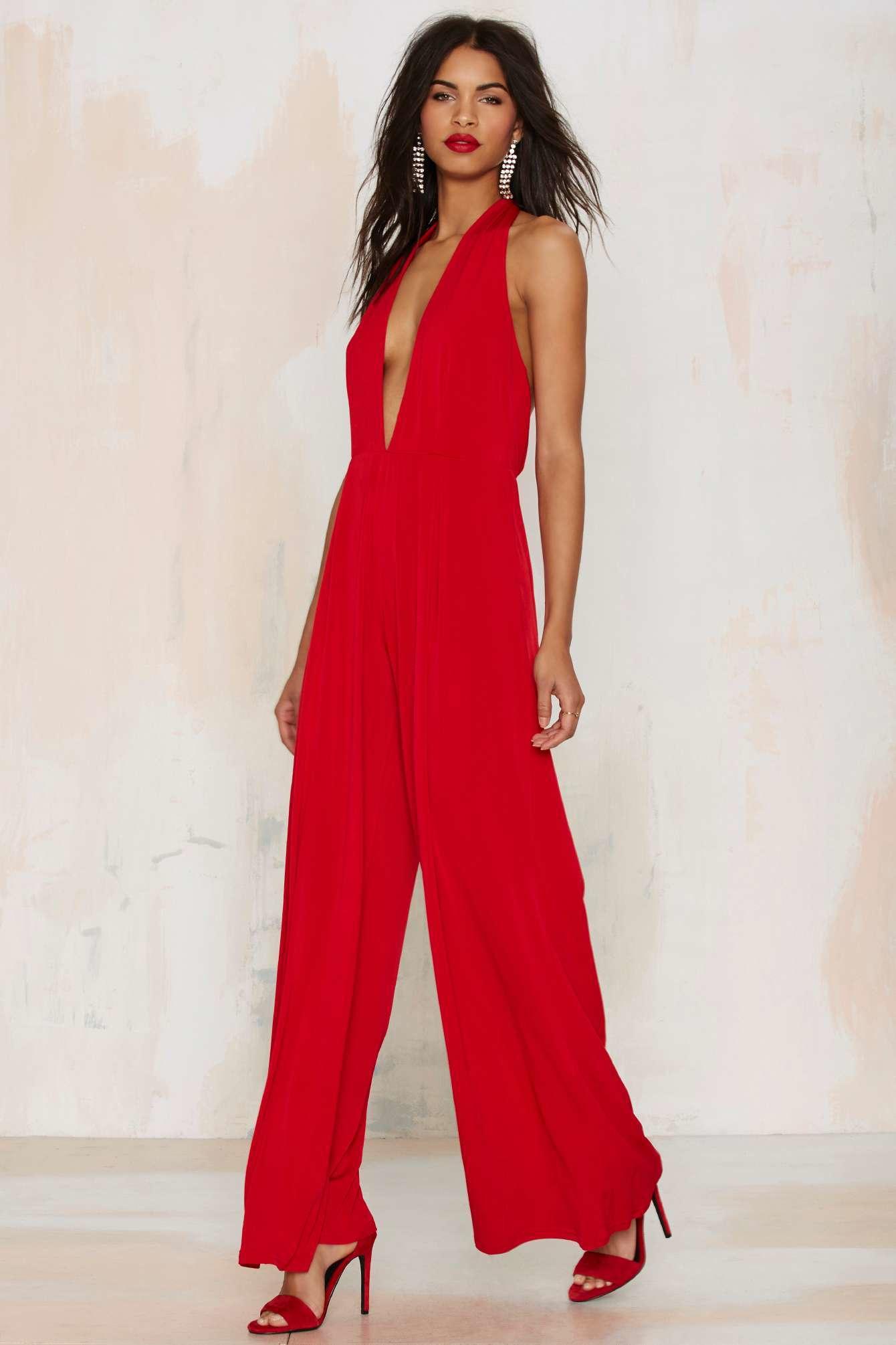 Glamorous Shalamar Halter Jumpsuit in Red | Lyst