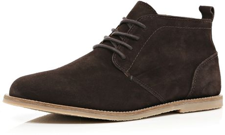 river island brown suede desert boots in brown for