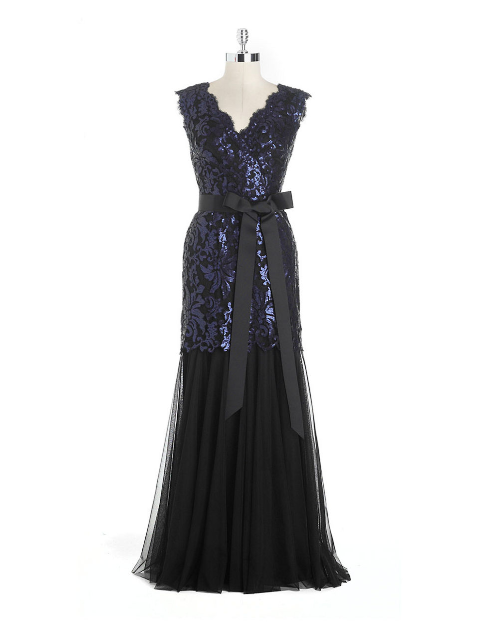tadashi shoji sequined lace mermaid gown in blue navy