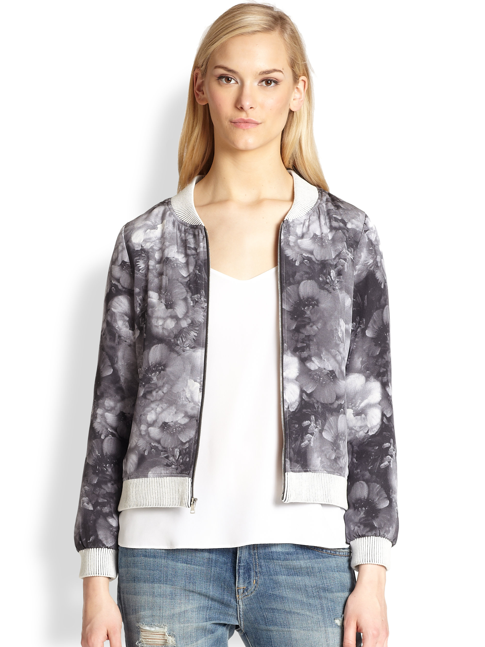Lyst - Townsen Lady Floral Silk Bomber Jacket in Black