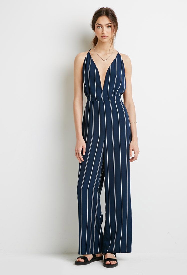 78f649dc509 Forever 21 Striped Halter Jumpsuit in Blue - Lyst