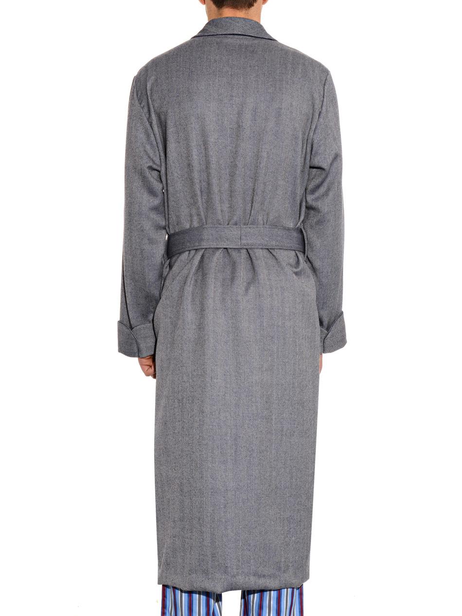 73ac9245fd Derek Rose Lincoln Herringbone Dressing Gown in Gray for Men - Lyst