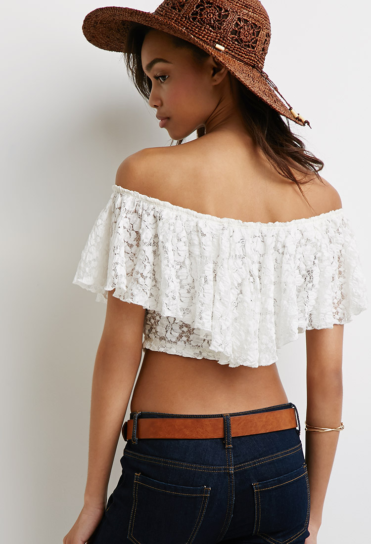 9028fe3570f32 Lyst - Forever 21 Off-the-shoulder Lace Crop Top You ve Been Added To The  Waitlist in White