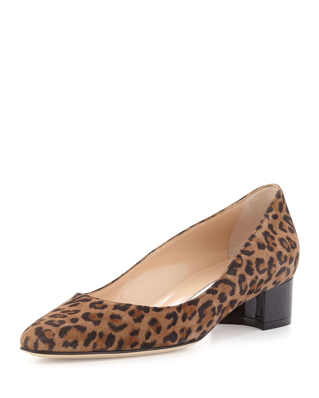 Leopard Print Block Heel Shoes
