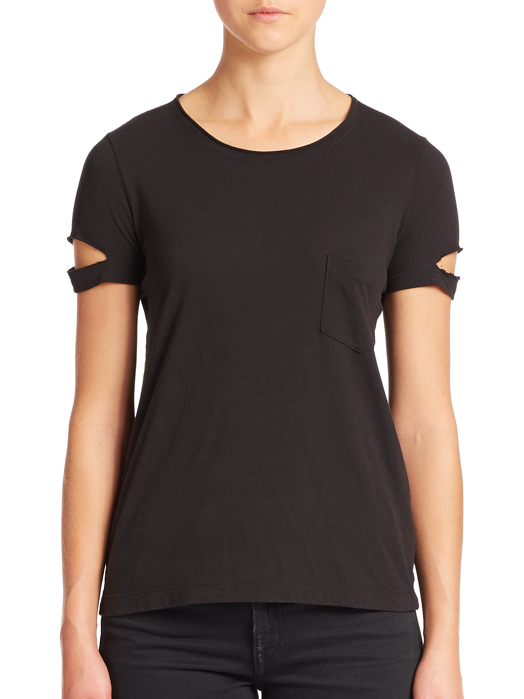 helmut lang pocket t shirt in black lyst