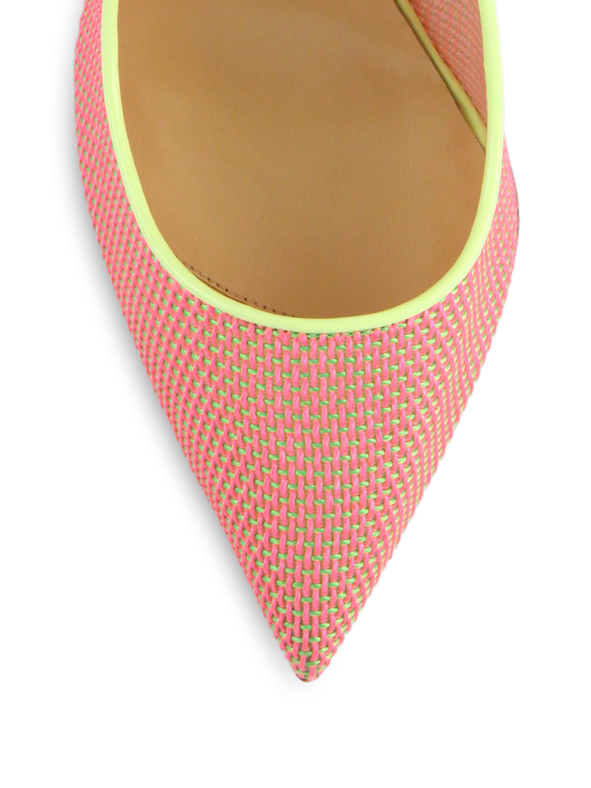 Christian louboutin Woven Color-Blocked Pumps in Pink (pink-multi ...