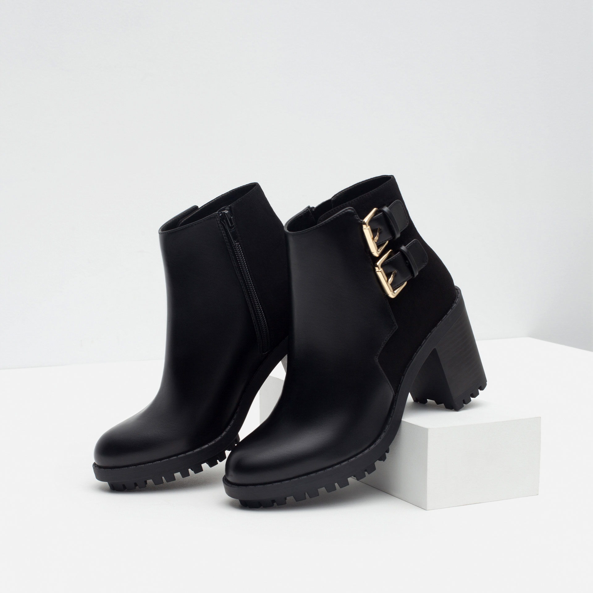 Zara Ankle Boots With Buckles in Black | Lyst