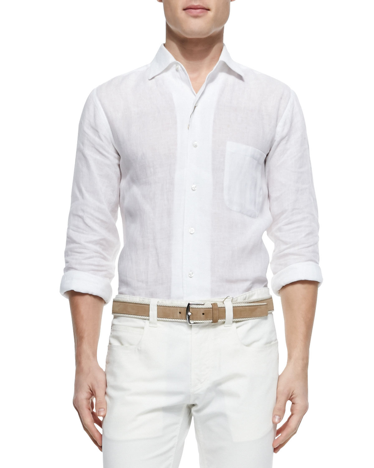 bc0295d45 Loro Piana Andre Long-Sleeve Linen Shirt in White for Men - Lyst