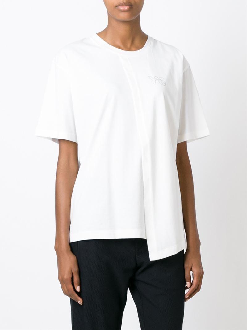 y 3 basic logo t shirt in white lyst. Black Bedroom Furniture Sets. Home Design Ideas