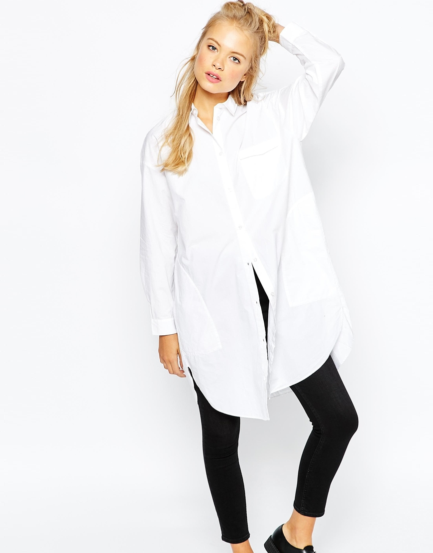 Monki Oversized Boyfriend Shirt in White | Lyst