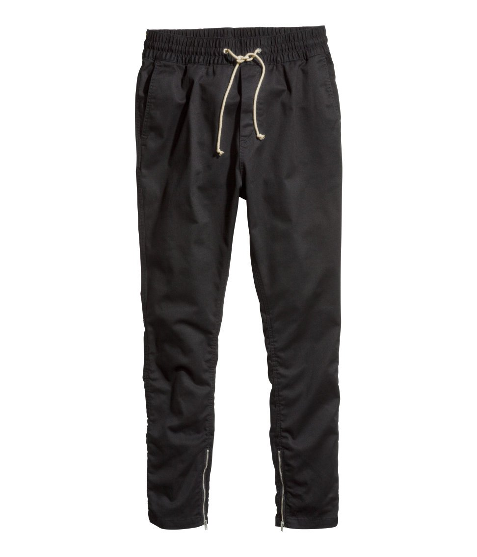 H Amp M Twill Joggers In Black For Men Lyst