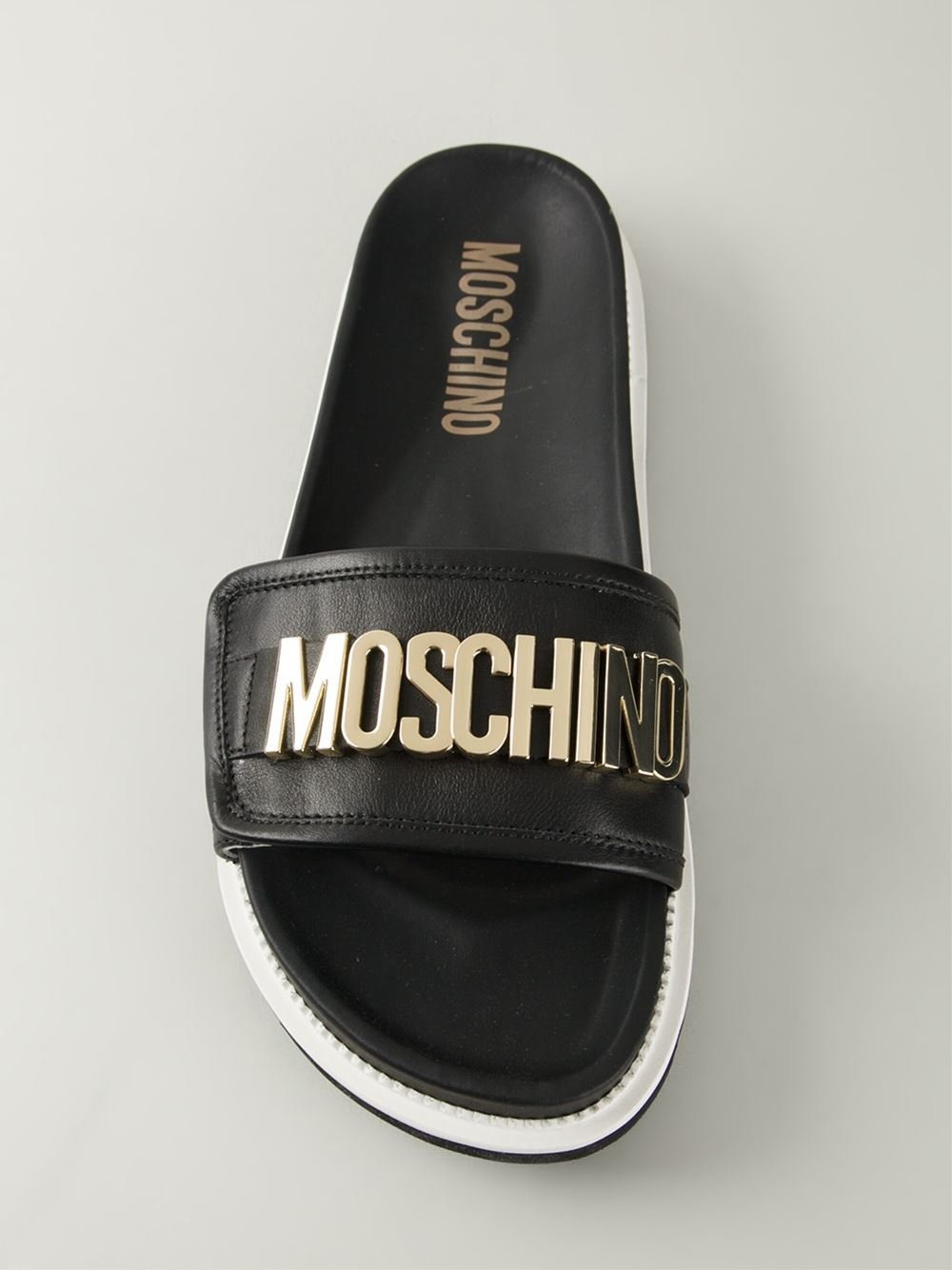 Lyst Moschino Logo Plaque Sandals In Black For Men