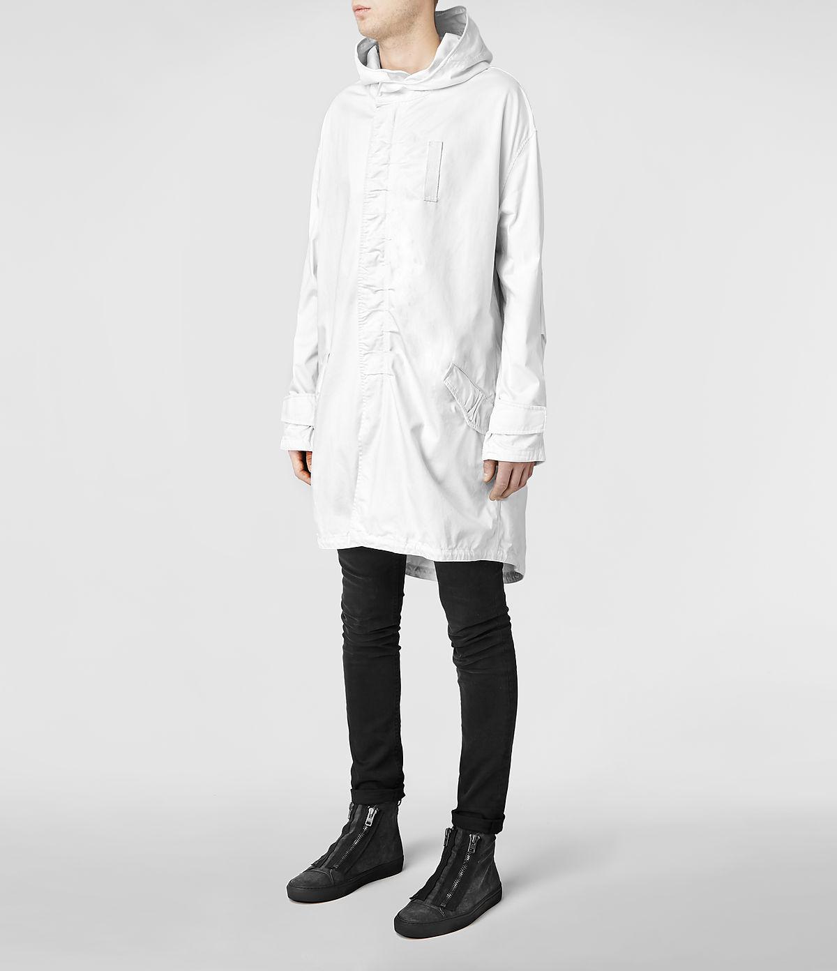 Allsaints Fort Parka Jacket in White for Men | Lyst