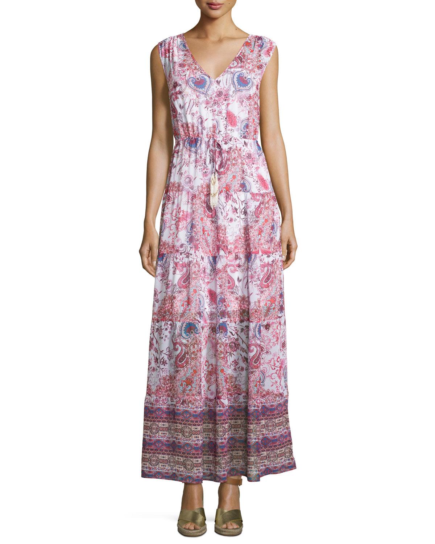 Neiman marcus Tiered Paisley-print Chiffon Maxi Dress | Lyst