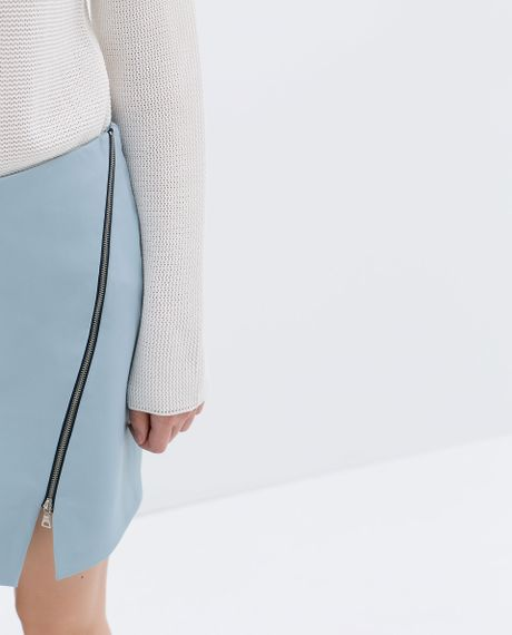 zara faux leather skirt with zip in blue light blue lyst