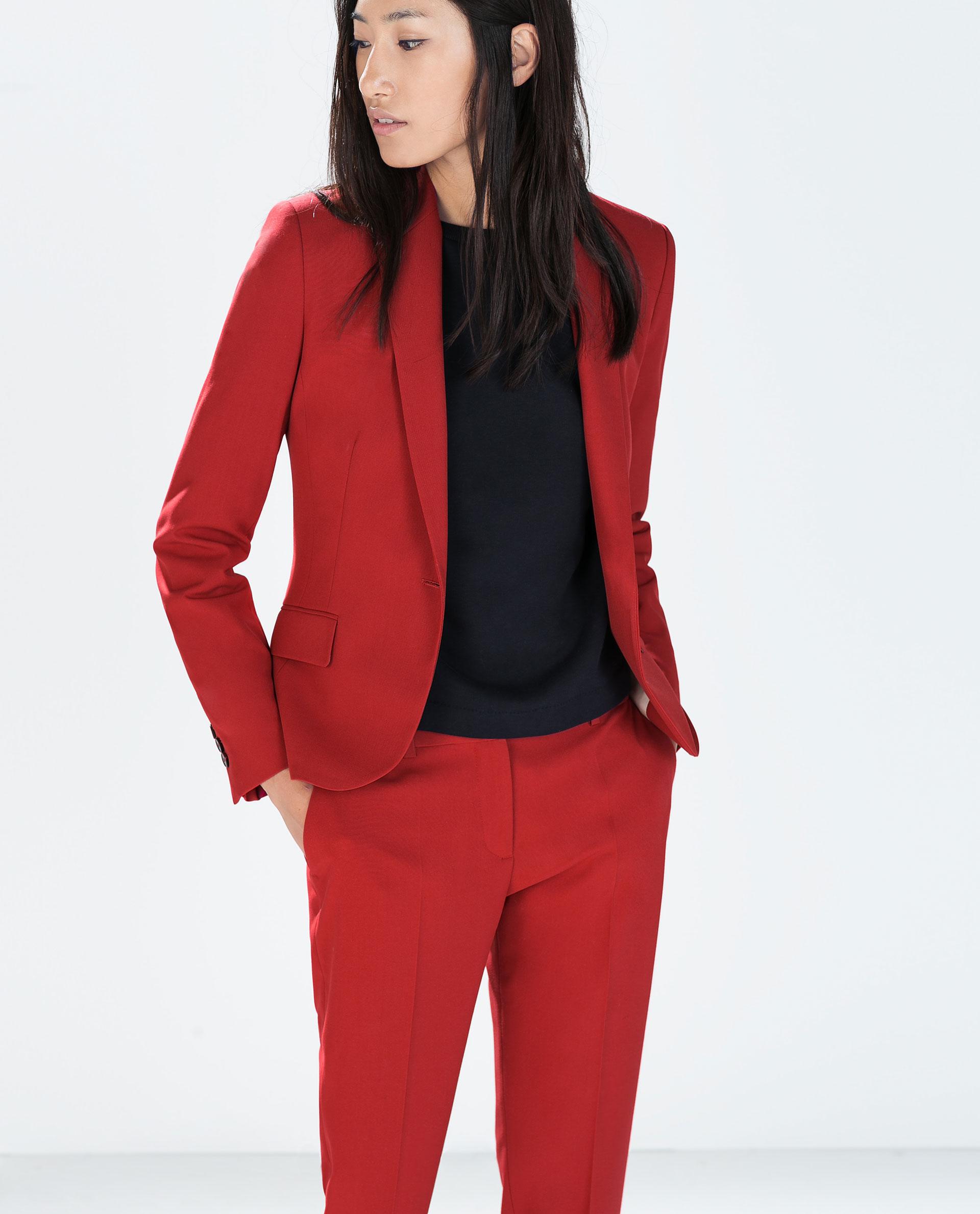 Zara Single Button Blazer in Red | Lyst