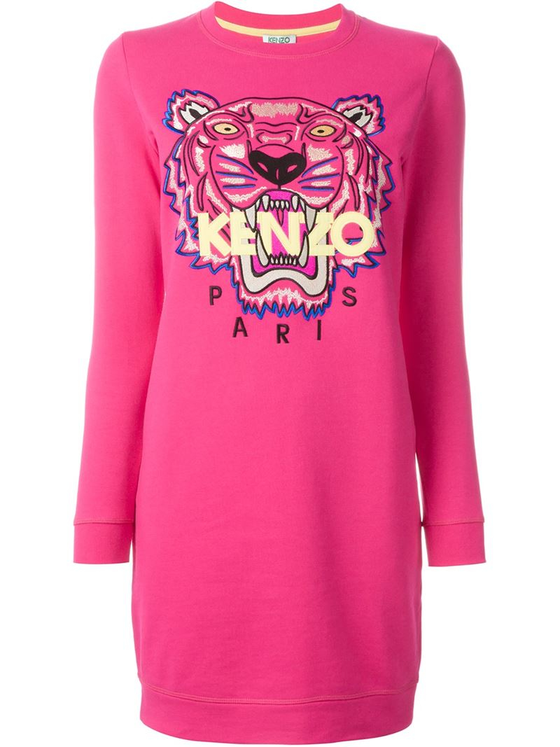 Lyst - KENZO  tiger  Sweatshirt Dress in Pink d0ccf087183e