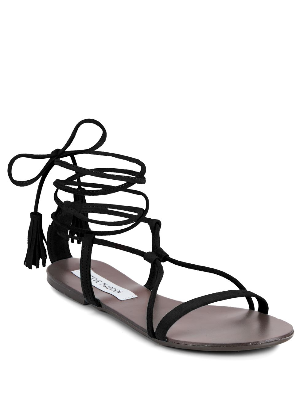 0520c8a0284 Lyst - Steve Madden Suede Open-toe Lace-up Sandals in Black