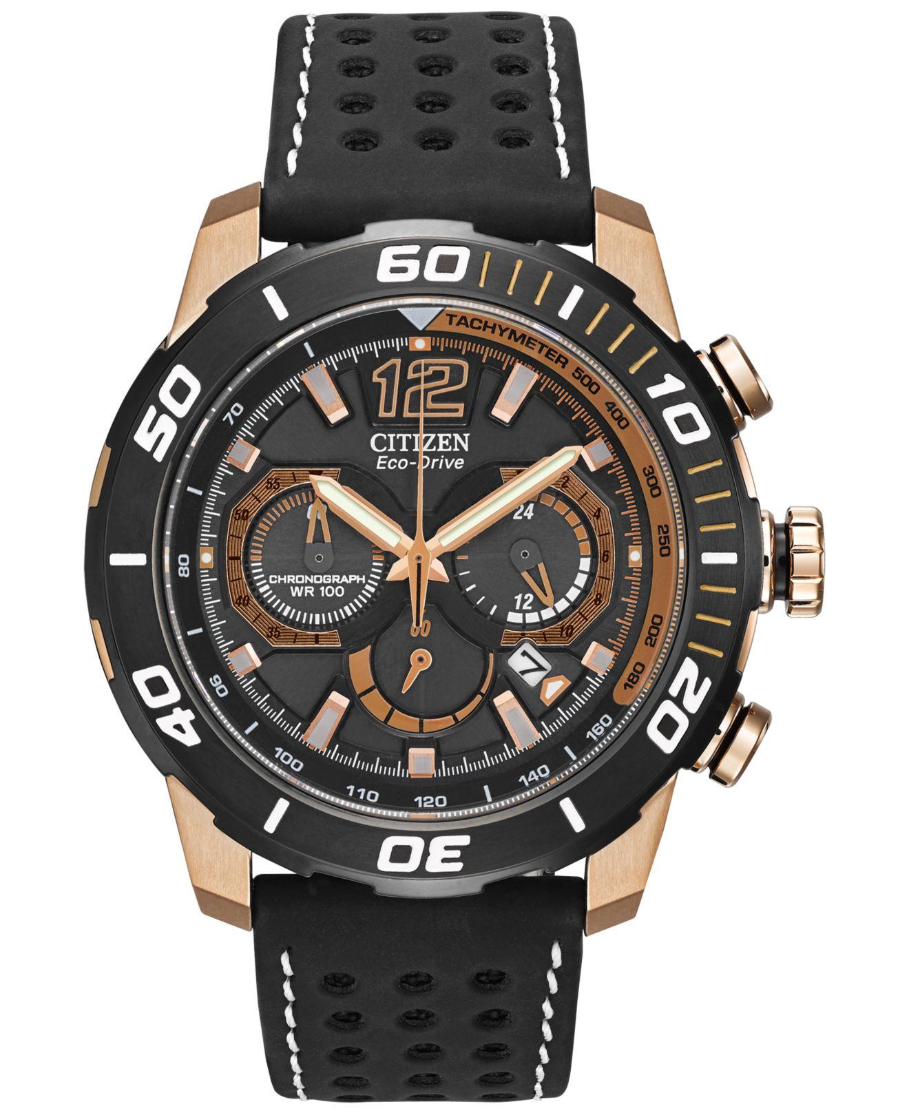 citizen s chronograph eco drive primo black perforated