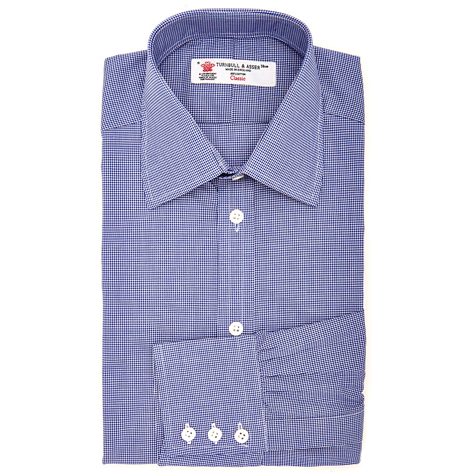 Turnbull Asser Royal Blue Gingham Fine Check Shirt With