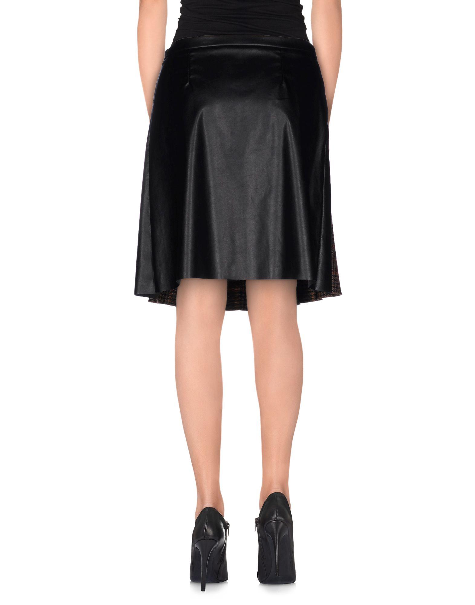 jucca knee length skirt in brown lyst