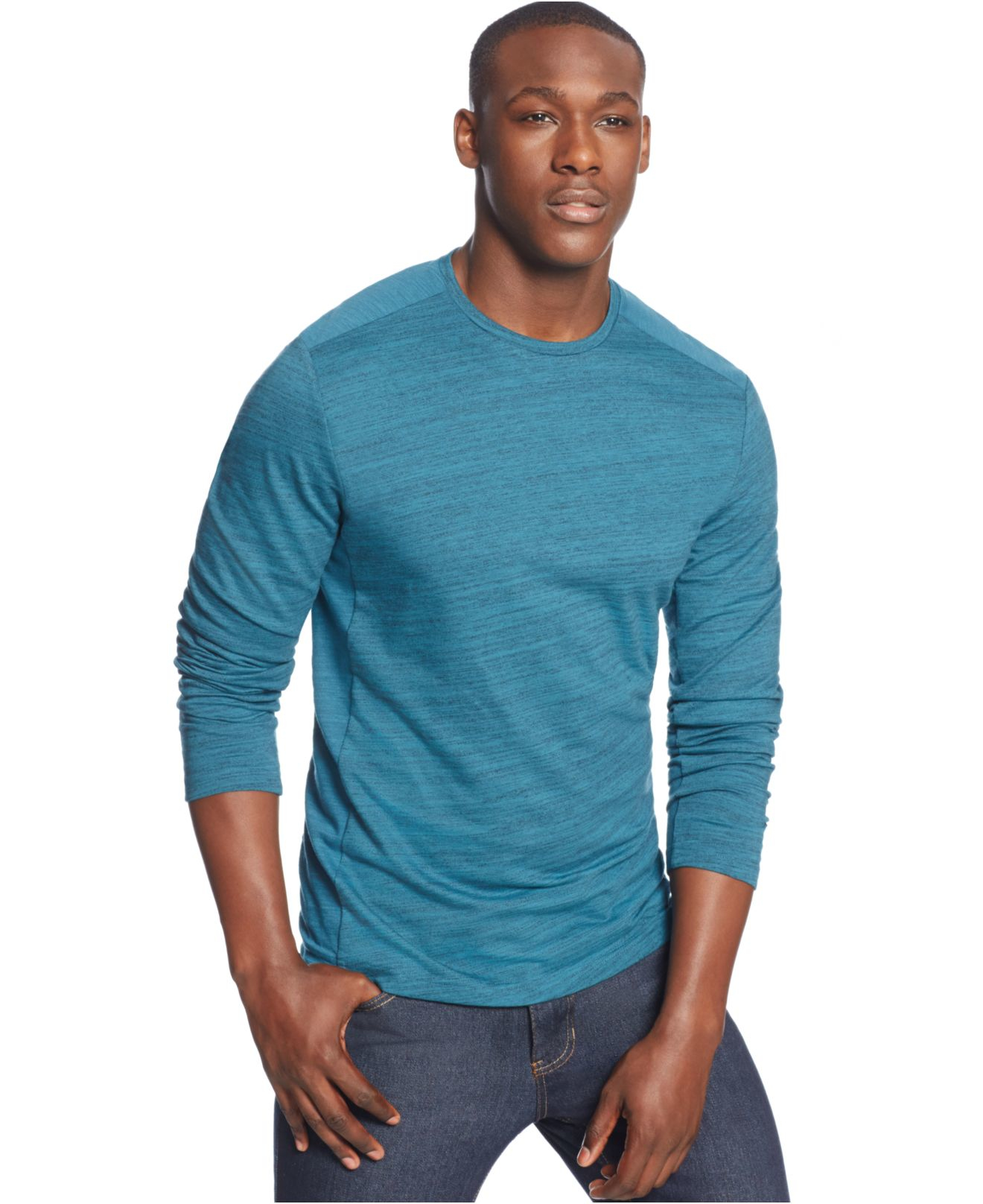 Lyst alfani big and tall long sleeve pieced thermal for Big and tall long sleeve shirts
