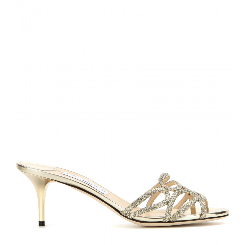 Jimmy choo Lentar Glitter Kitten-heel Sandals in Metallic | Lyst