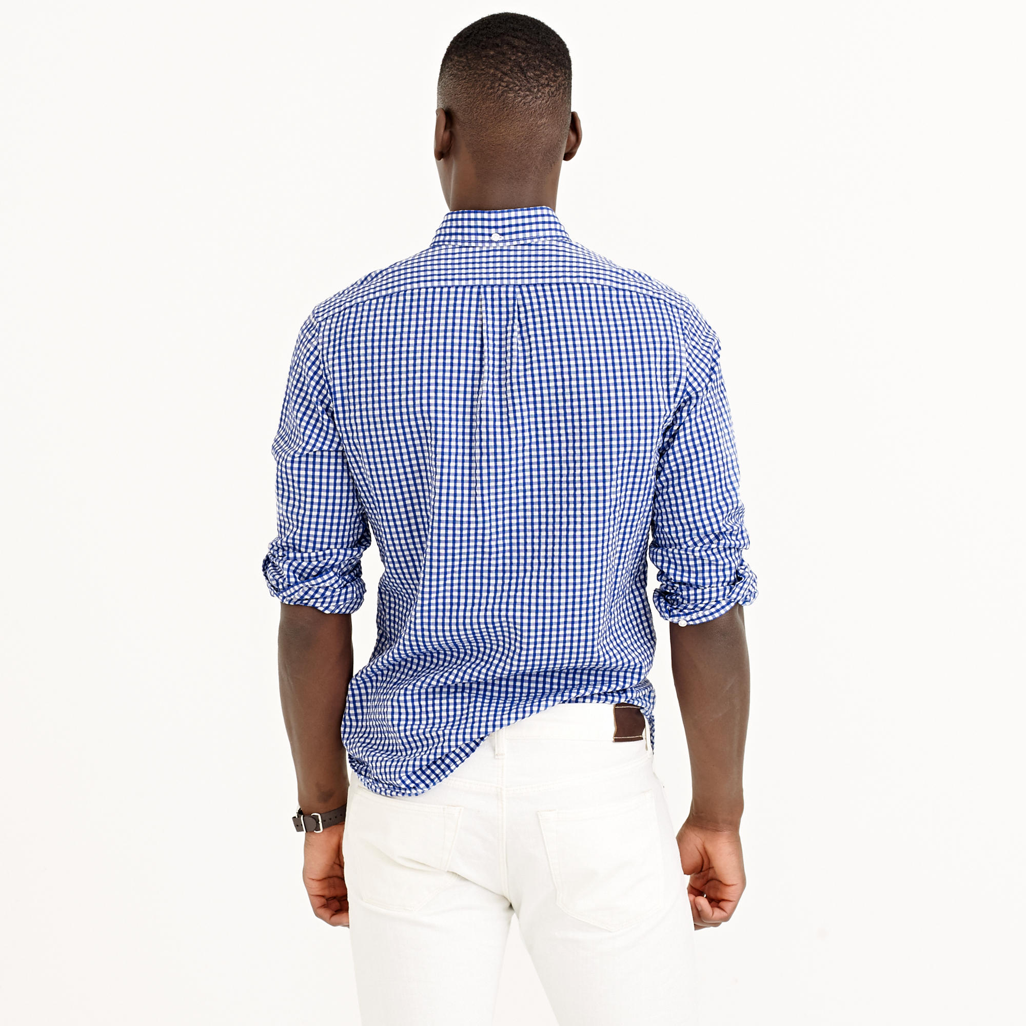 Lyst j crew slim seersucker shirt in estate blue gingham for Mens seersucker shirts on sale