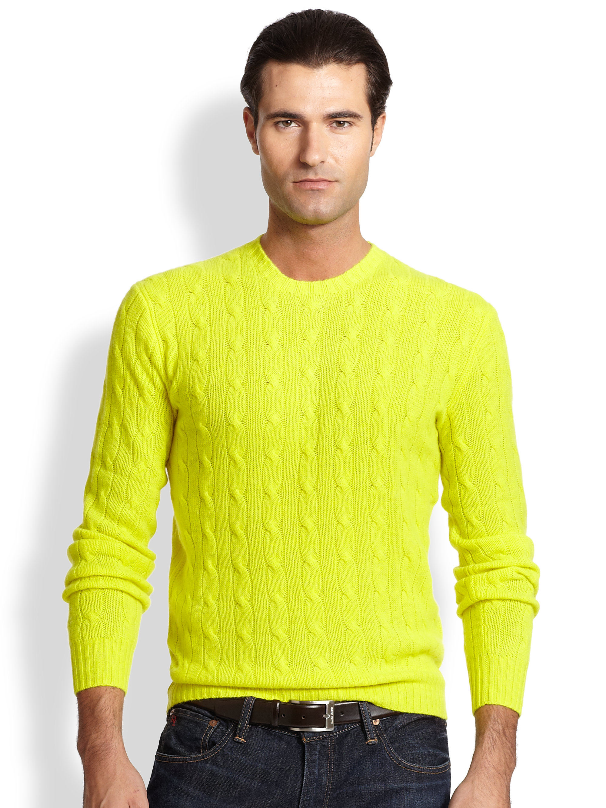 13b4dea9097 Lyst - Polo Ralph Lauren Cable-knit Cashmere Sweater in Yellow for Men