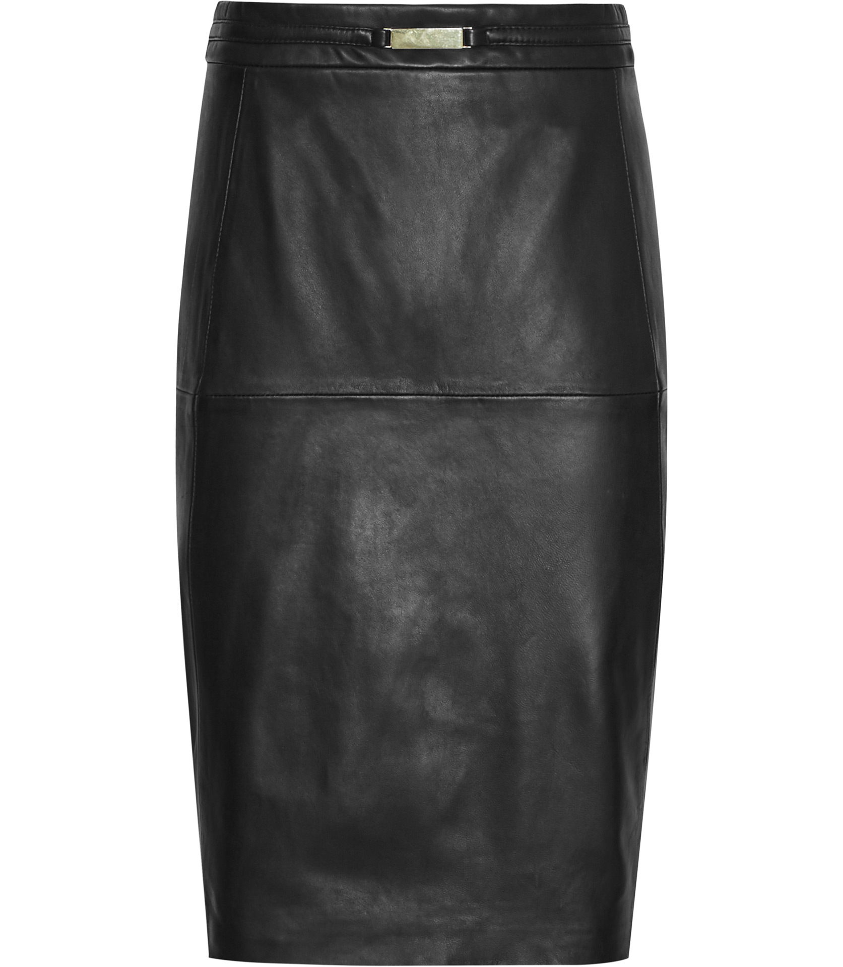 reiss cleo leather panel pencil skirt in black lyst