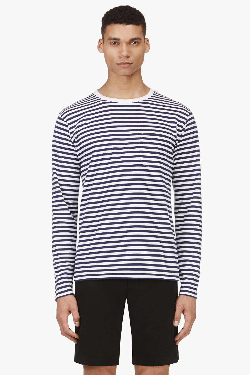 Nanamica Navy Long Sleeve Stripe Coolmax T Shirt In Blue