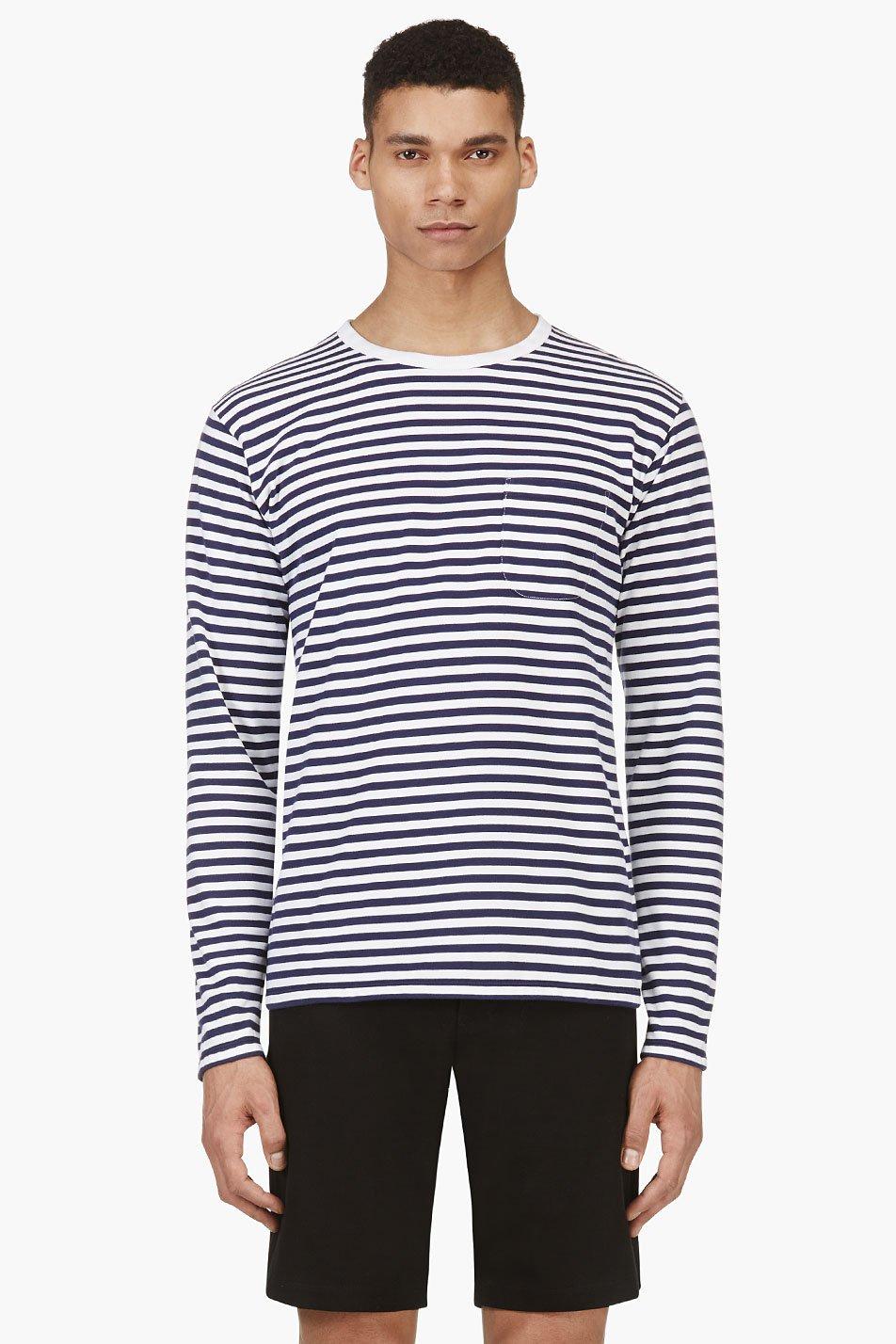 Nanamica navy long sleeve stripe coolmax t shirt in blue for Navy blue striped long sleeve shirt