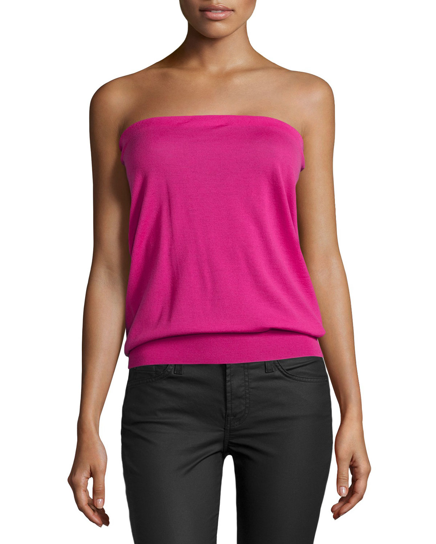 ea36b633e9 Lyst - Stella McCartney Strapless Blouson Knit Top in Pink