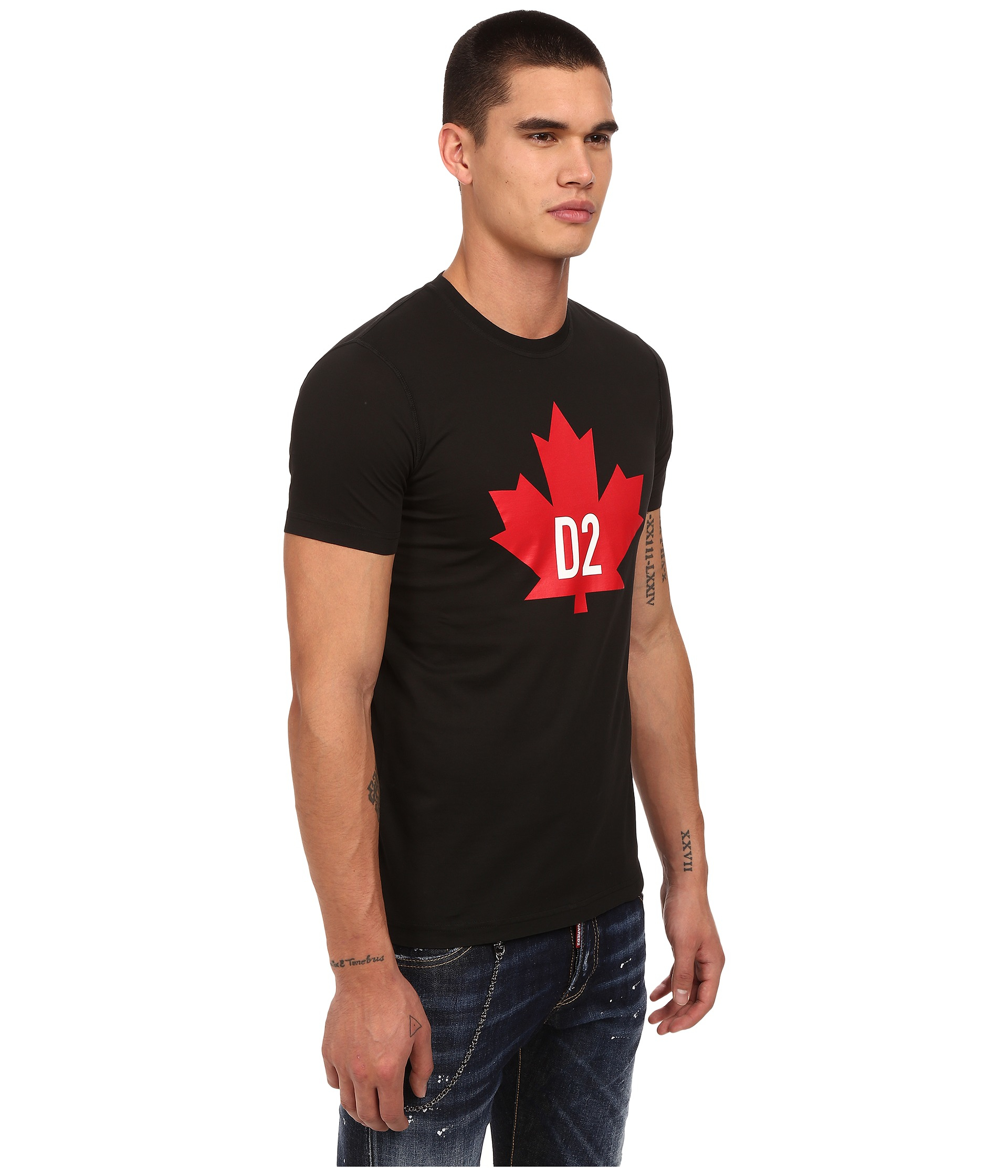 dsquared maple leaf cotton t shirt in black for men lyst. Black Bedroom Furniture Sets. Home Design Ideas