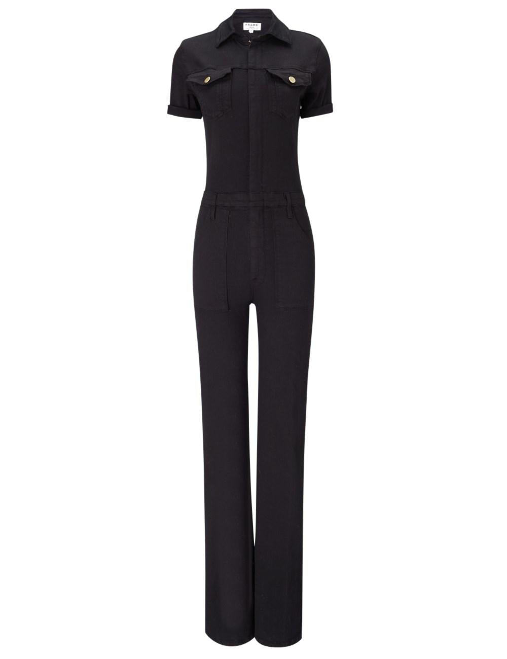 Frame Black Denim Francoise Jumpsuit in Black | Lyst