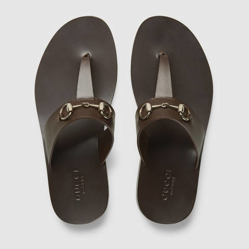 ea628440a55 Lyst - Gucci Leather Horsebit Thong Sandal in Brown for Men