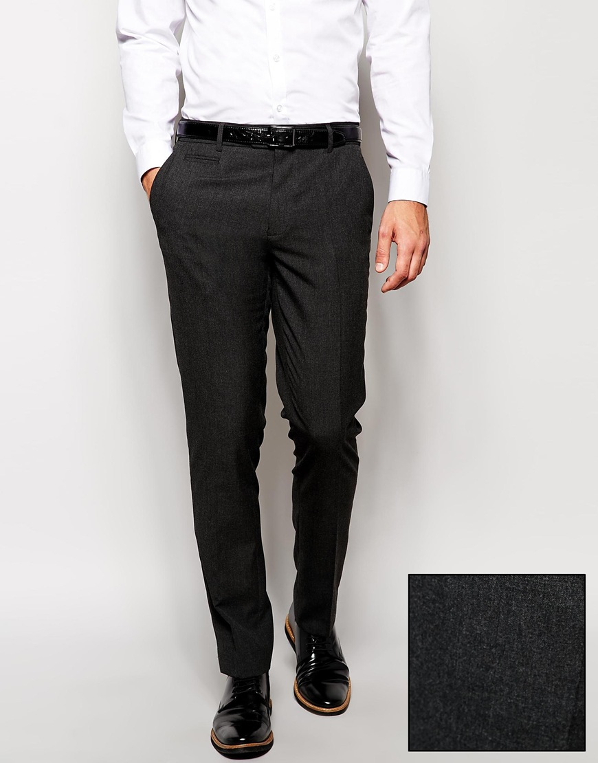 Skinny Fit Trousers f you're a modern man that likes to keep his clothes nice and fitted, then our skinny fit trousers are guaranteed to be a star in your wardrobe. From cool crops, to plain styles and smart checks, choose a pair for everyday of the week, or something smart for those occasions that call for suit trousers.