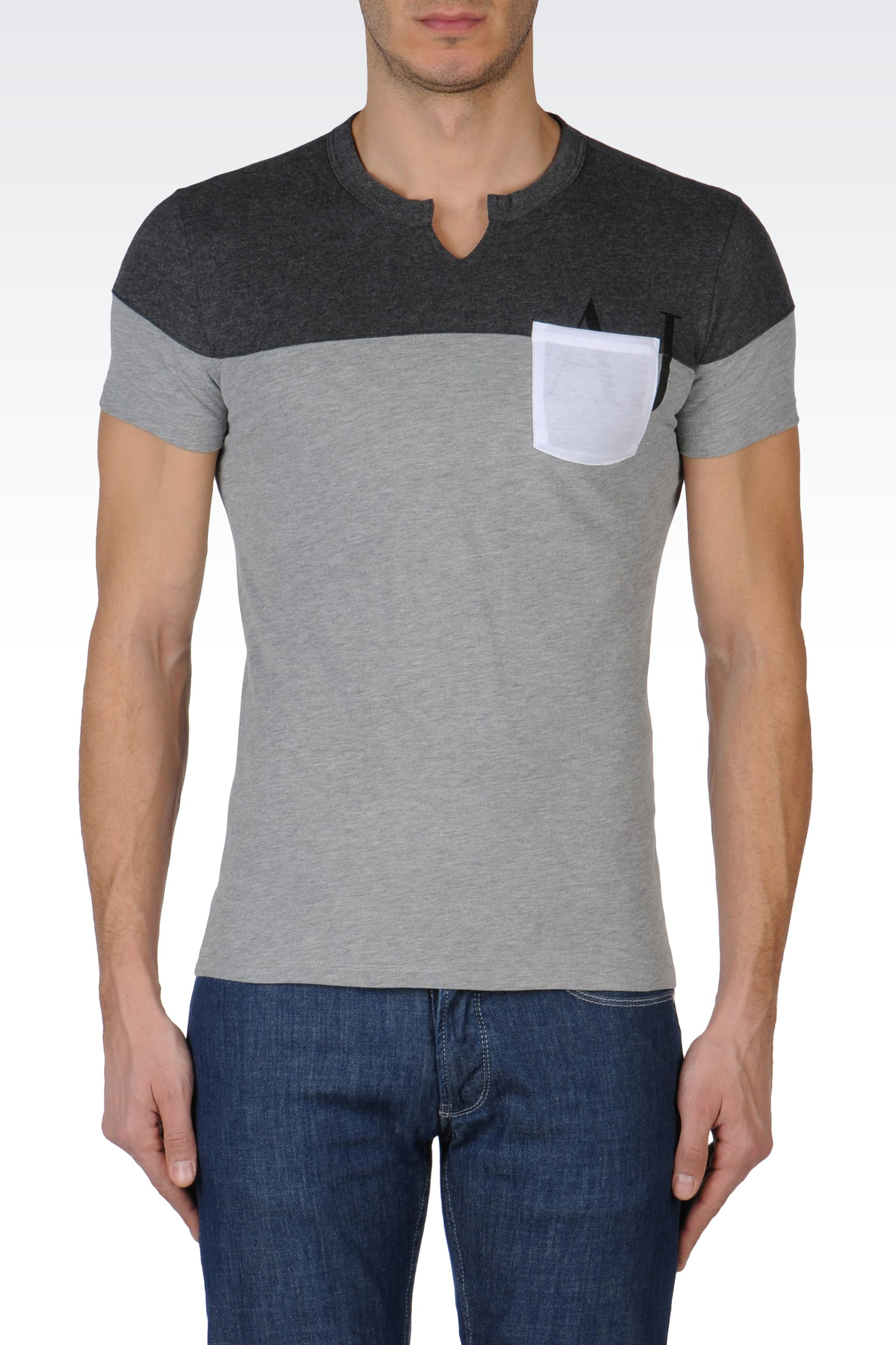 armani tshirt in colour block jersey in gray for