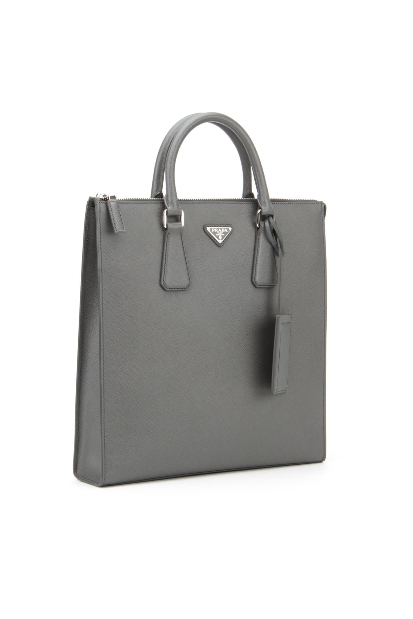 Prada Saffiano Travel Bag in Gray for Men (MERCURIO) | Lyst