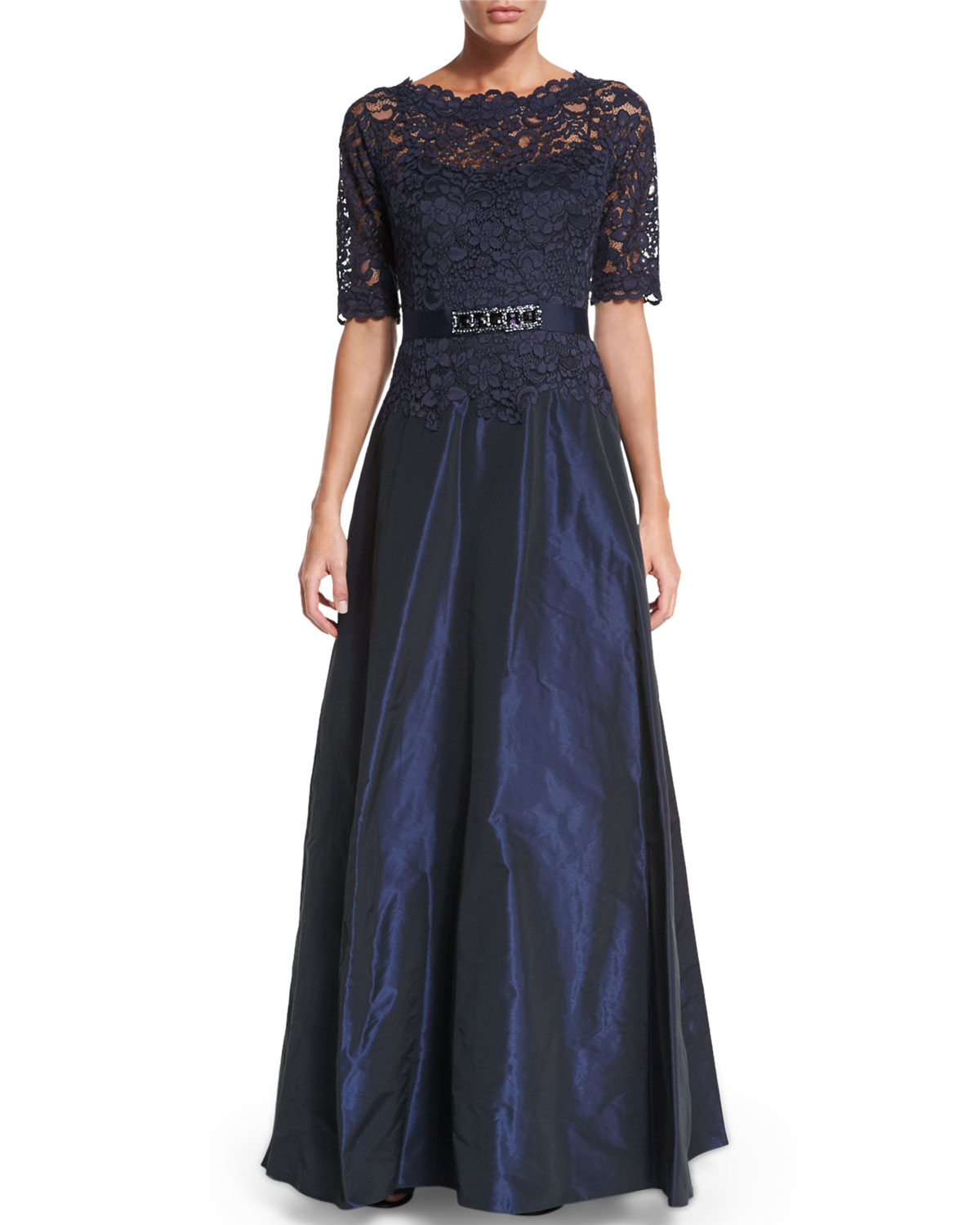 Teri jon Scalloped Lace Gown in Blue | Lyst