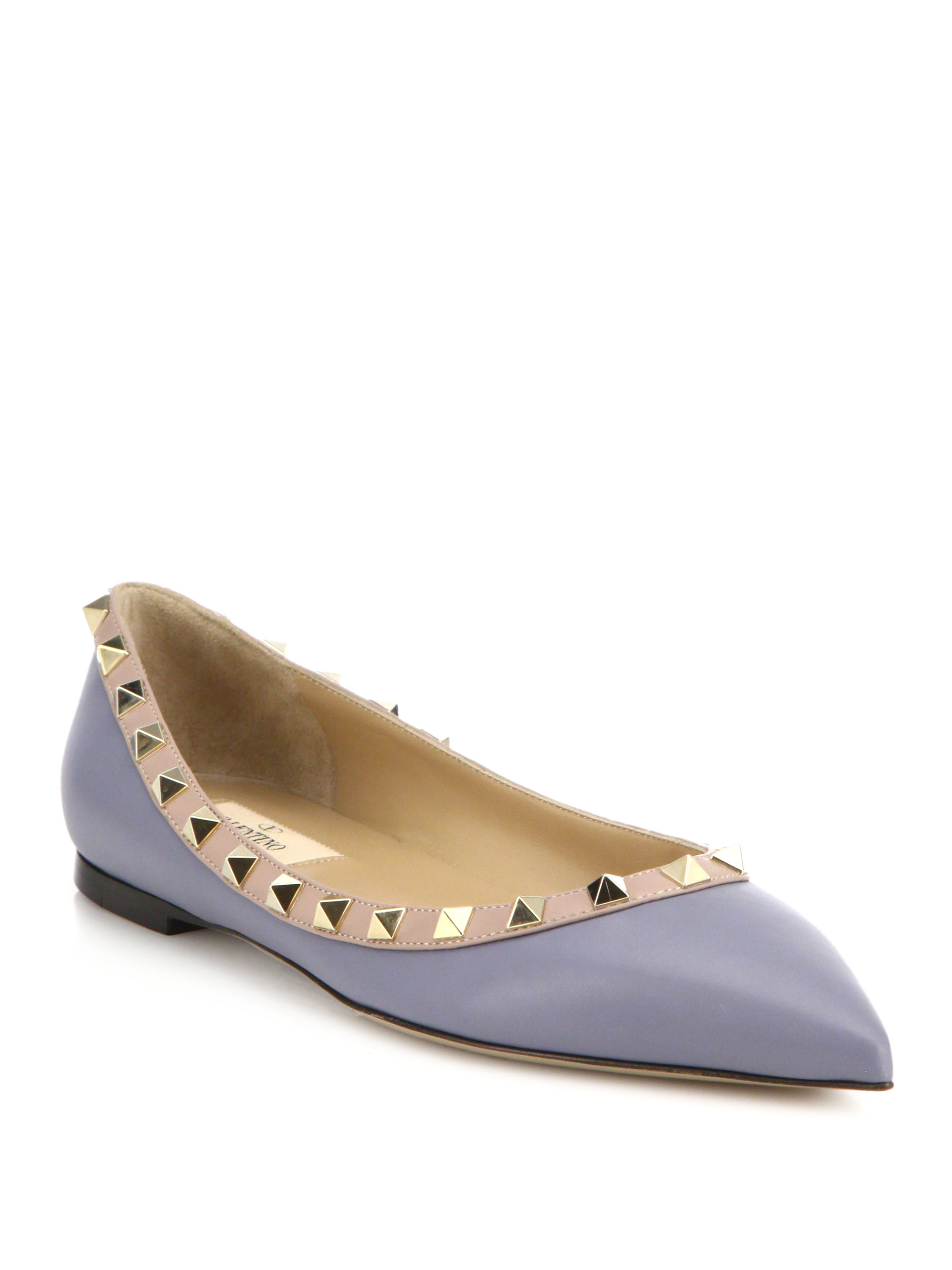 Lyst Valentino Rockstud Two Tone Leather Flats In Gray